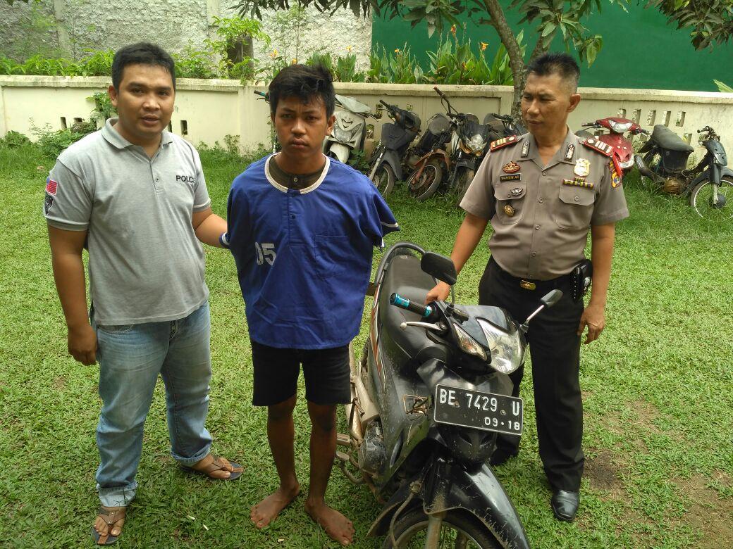 Suroto (22) warga Gedongratu, Kecamatan Anakratu Aji, Lampungtengah, salah satu pelaku pencurian yang diamankan pihak kepolisian Sektor Sukoharjo, Kabupaten Pringsewu. (Lampungnews/Anton).