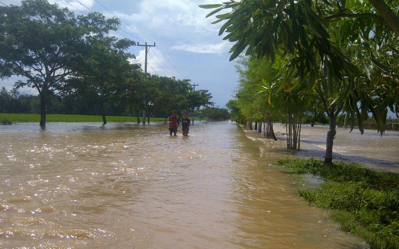 Jalur dua arah perkantoran Pemkab di Pekon Klaten, Kecamatan Gadingrejo yang putus karena banjir. (Lampungnews/Anton Nugroz)
