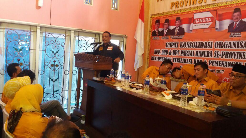 Rapat konsolidasi DPD Hanura Lampung. (Lampungnews/Davit)