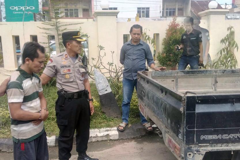 Tersangka pencurian mobil di Lampung Tengah. Mobil curian dijual ke bandar narkoba di Jambi. (Lampungnews/Zir)