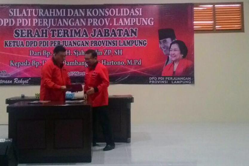 Serah terima jabatan Ketua DPD PDI Perjuangan Lampung. (Lampungnews/Davit)