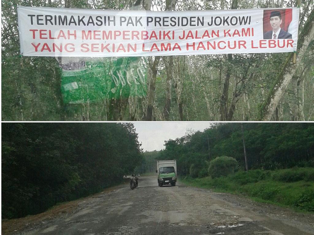 Foto Atas : Spanduk ucapan terima kasih kepada Presiden Jokowi