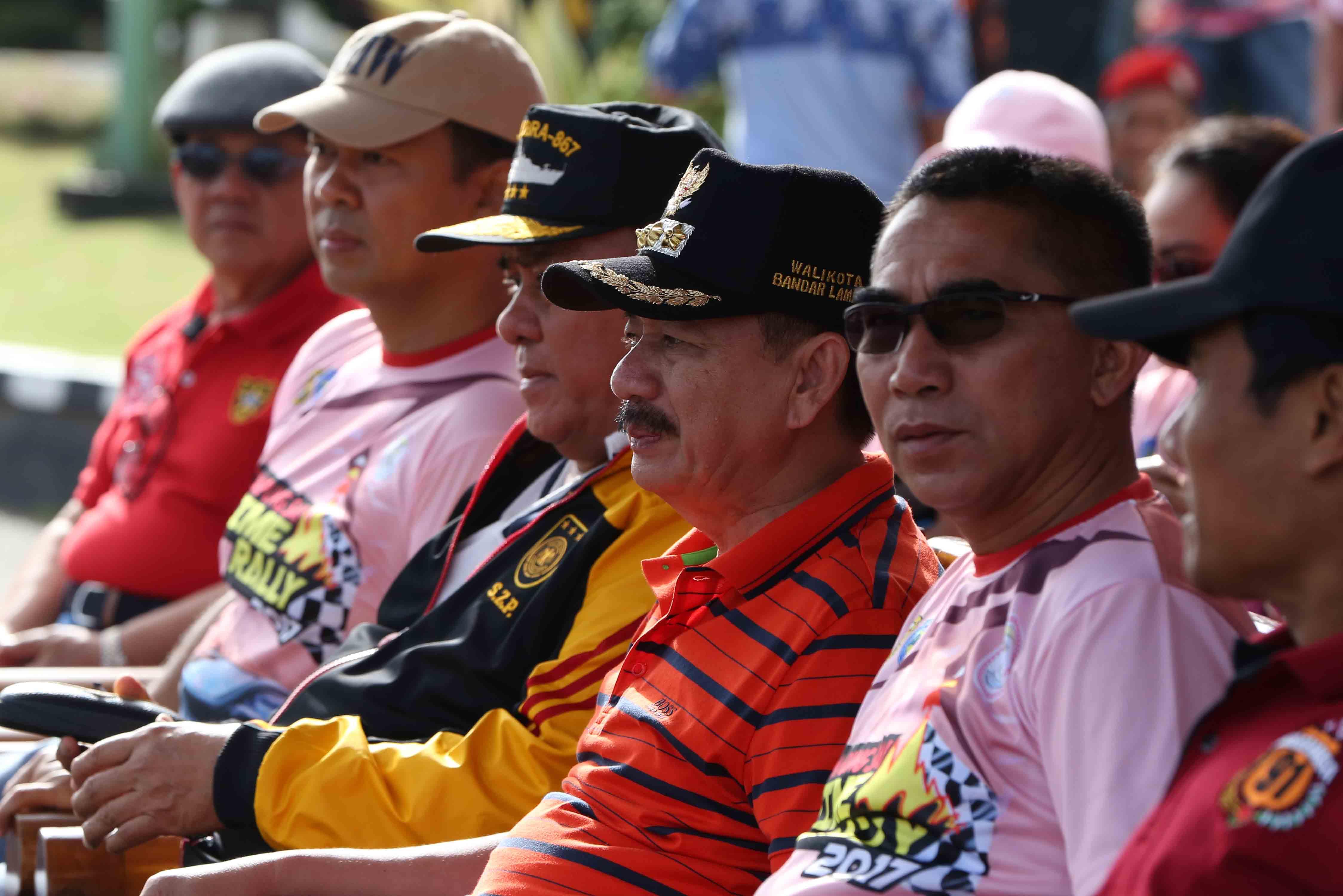Walikota Bandarlampung Herman HN saat menghadiri Time Rally Lampung Sai (Lampungnews/Cris Ali)