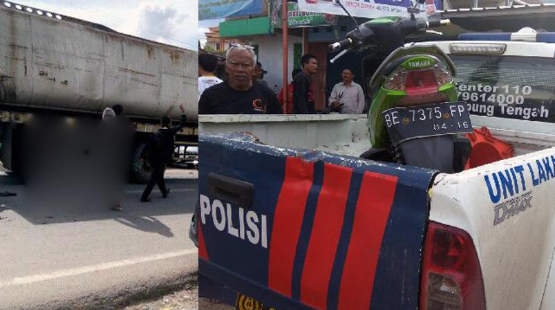 Truk minyak sawit (kiri) dan sepeda motor Sastra Yanto (Ist)