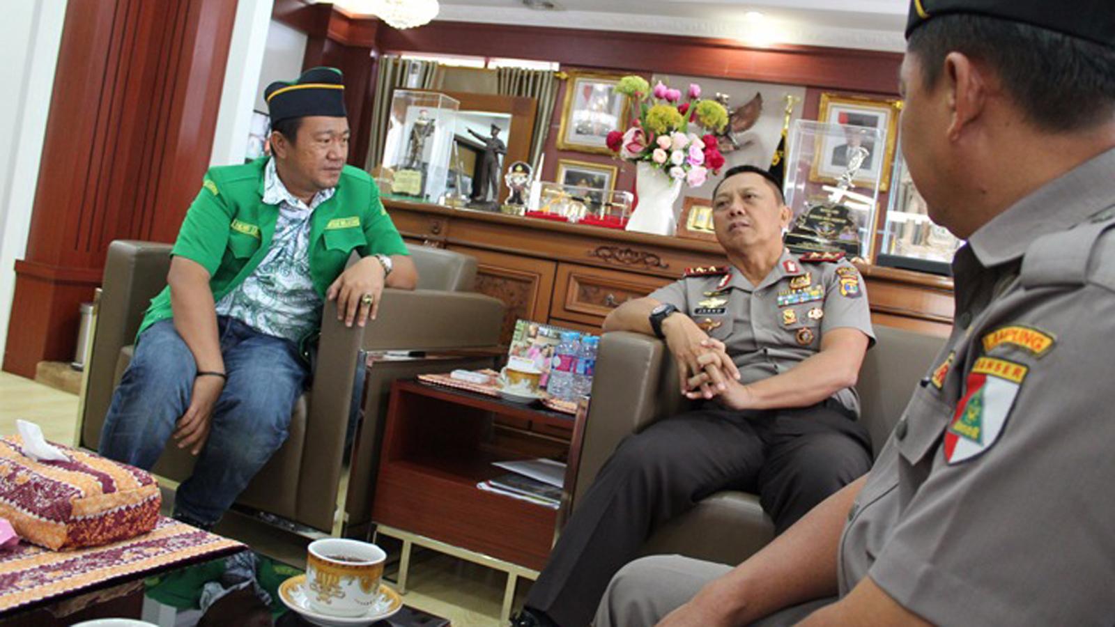 Kunjungan GP Ansor ke Polda Lampung. (Lampungnews/Adam)