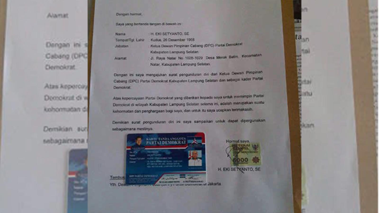 Surat pengunduran diri Eki Setyanto. (Foto. Dok)