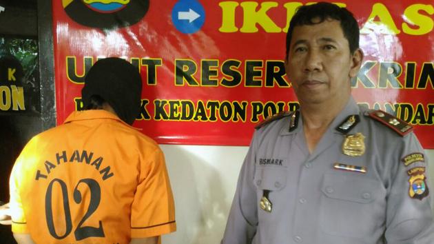 Tersangka Hakim kini ditahan di Polsek Kedaton. (Lampungnews/Adam)