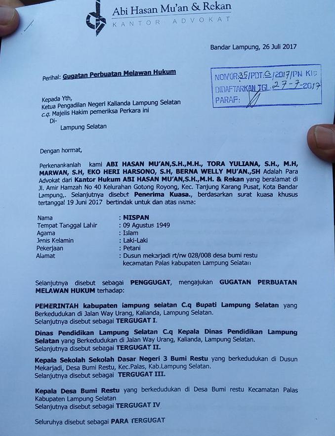 Surat Gugatan ke Pengadilan Negeri Kalianda, Lampung Selatan (Lampungnews/Ho)