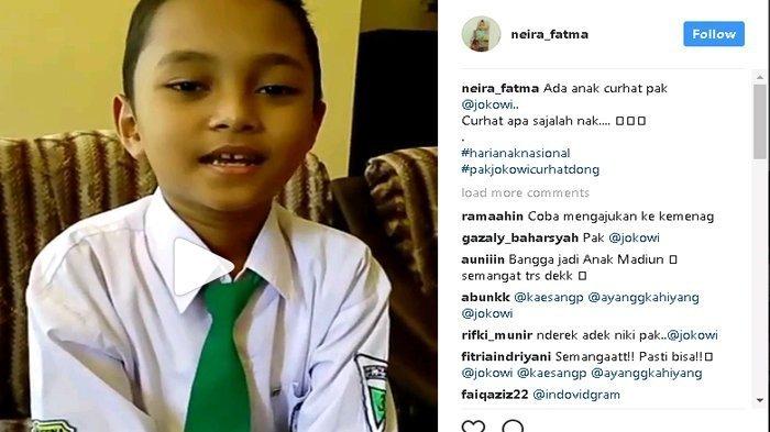 Fabian Rizial Asmi, pelajar Madrasah Ibtidaiyah Kresna, Kabupaten Madiun, curhat ke Presiden Jokowi lewat Instagram karena tak punya dana untuk ikut olimpiade matematika tingkat internasional (Instagram)