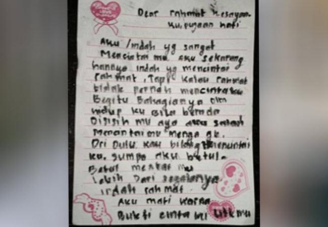 Surat Cinta yang ditinggalkan untuk pacarnya (tribratanews.com)