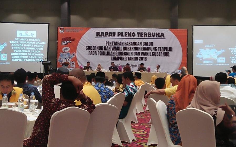 Rapat Pleno Terbuka Gubernur dan Wakil Gubernur Lampung Terpilih (lampungnews)