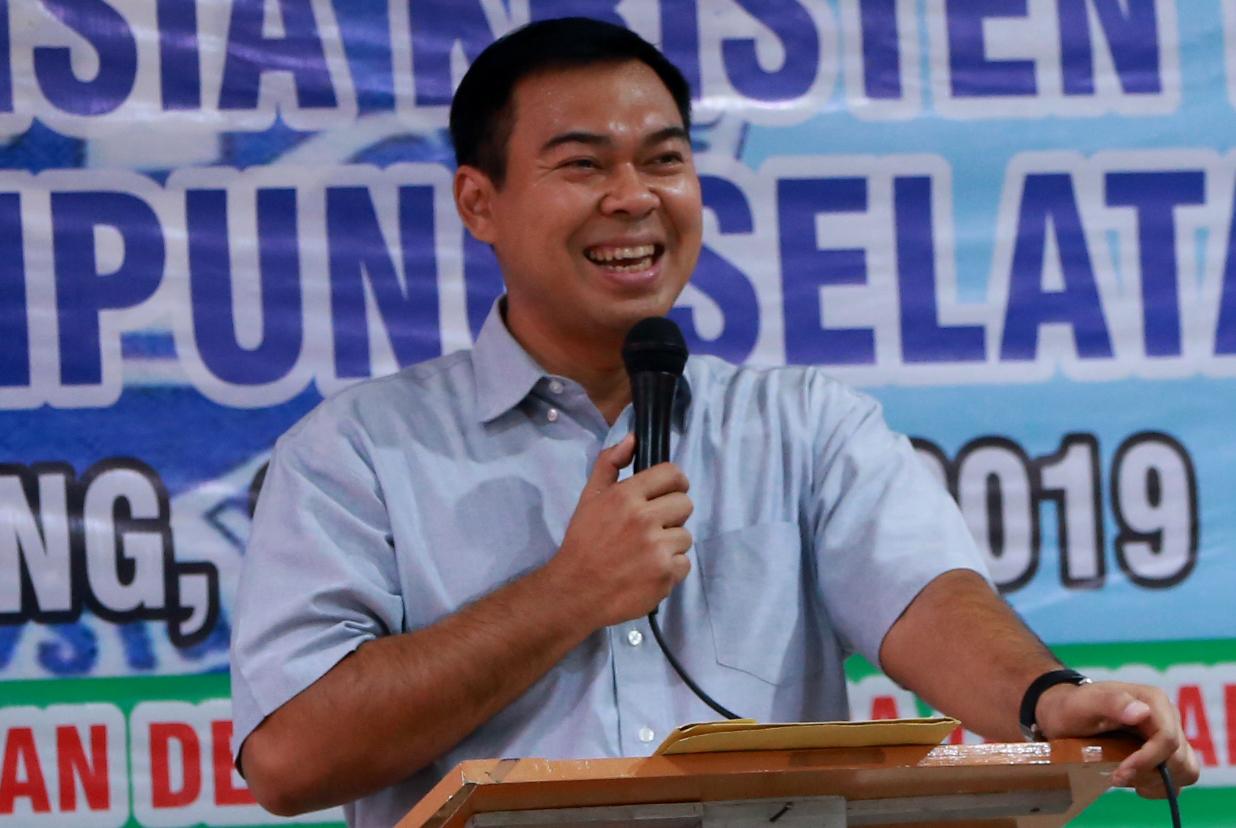 Rycko Menoza SZP sedang memberikan sambutan pada saat menghadiri undangan Pelantikan Pengurus Persatuan Intelegensia Kristen Indonesia Lampung Selatan, Minggu (4/4/19).